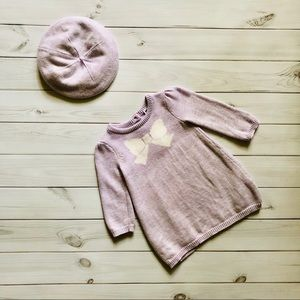 Janie and Jack Light Lavender Knit Dress and Hat